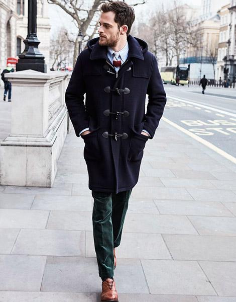 Мужской дафлкот и туфли